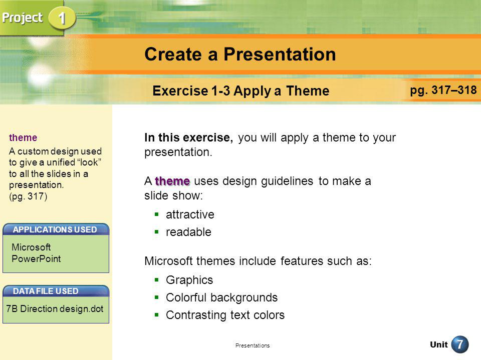 Exercise 1-3 Apply a Theme