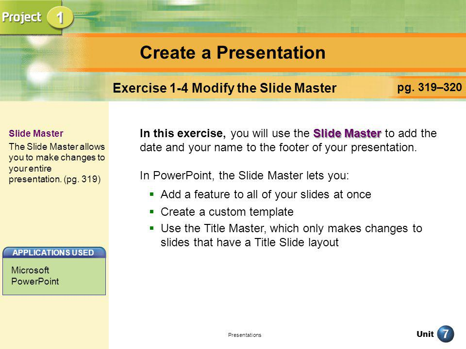 Exercise 1-4 Modify the Slide Master