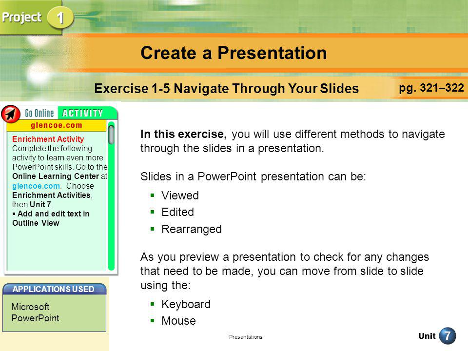 Exercise 1-5 Navigate Through Your Slides