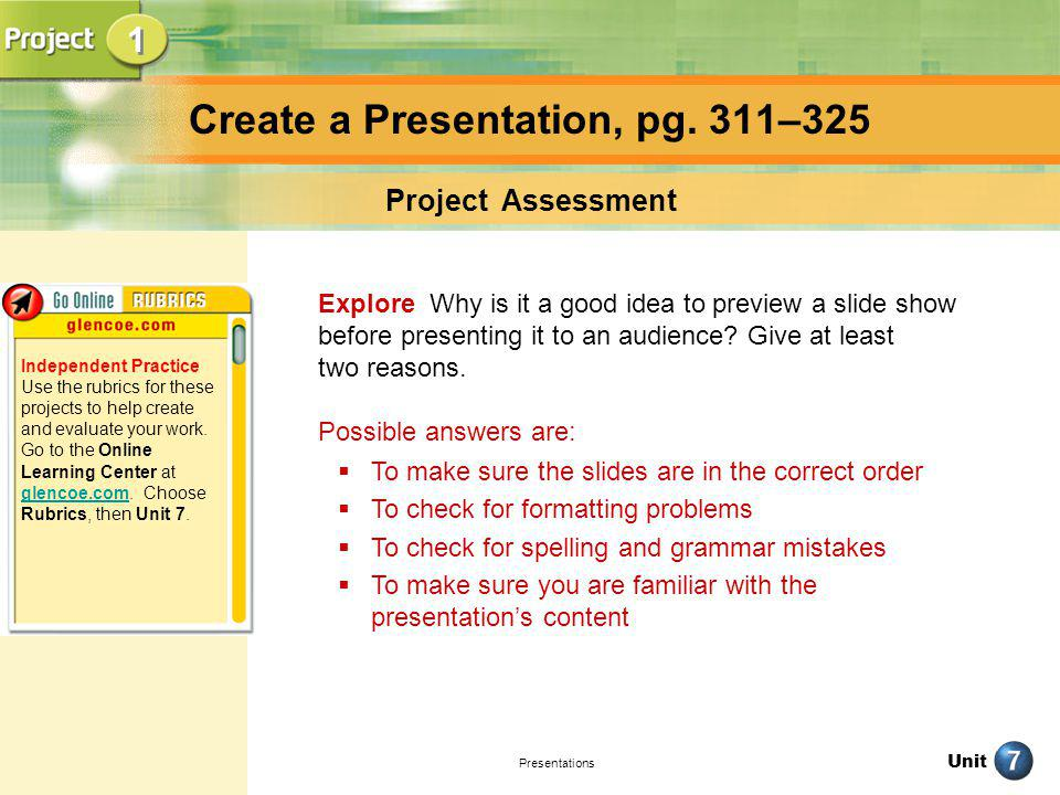 Create a Presentation, pg. 311–325