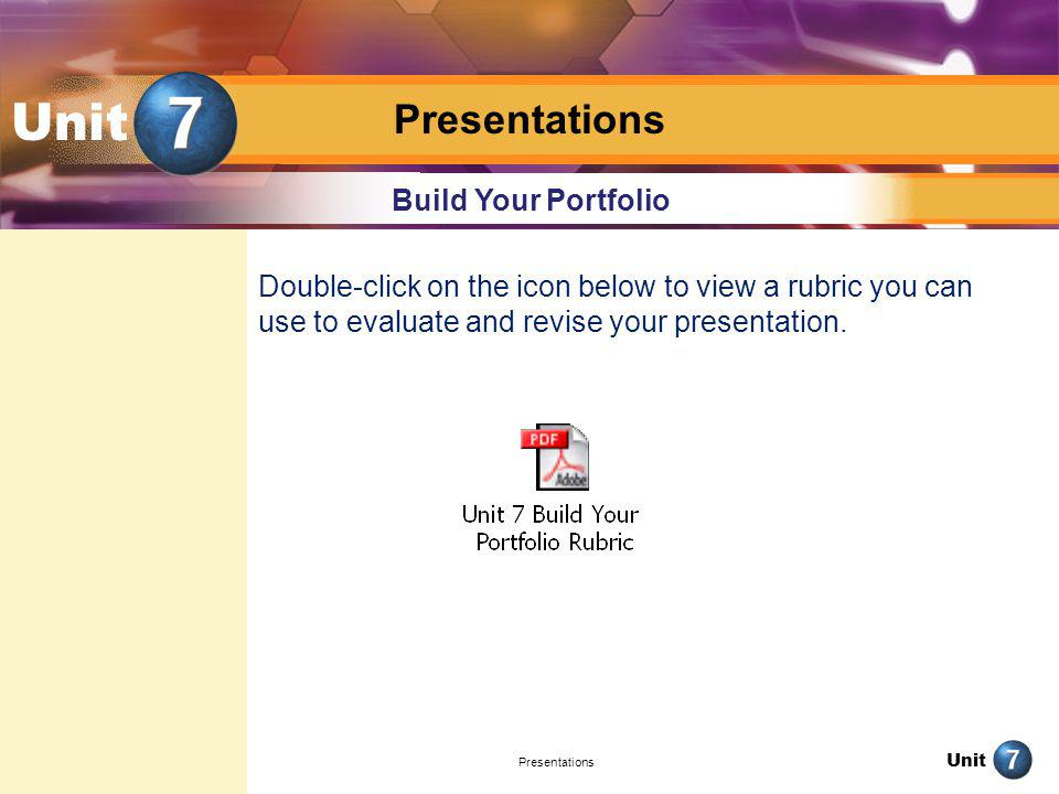 Unit Presentations Build Your Portfolio
