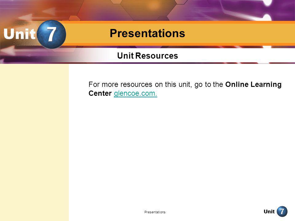 Unit Presentations Unit Resources