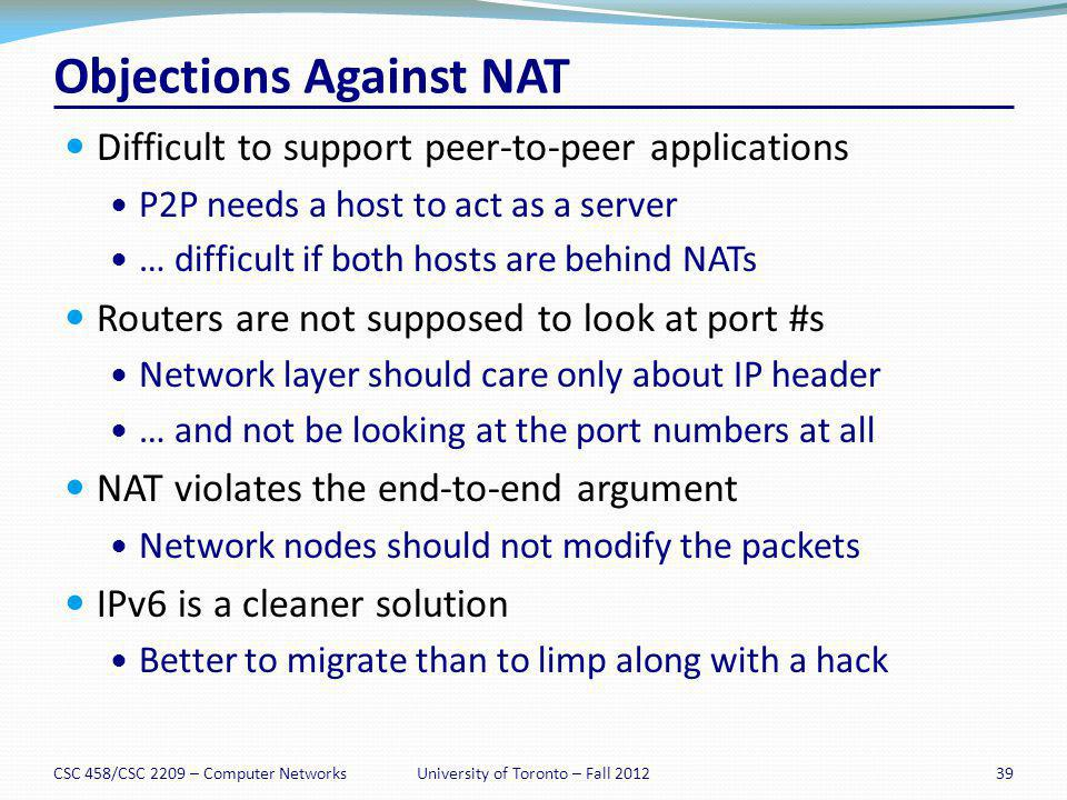 Objections Against NAT