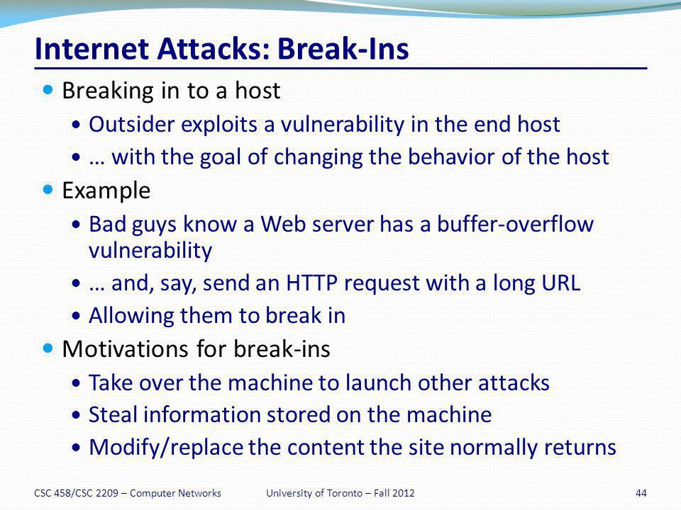 Internet Attacks: Break-Ins