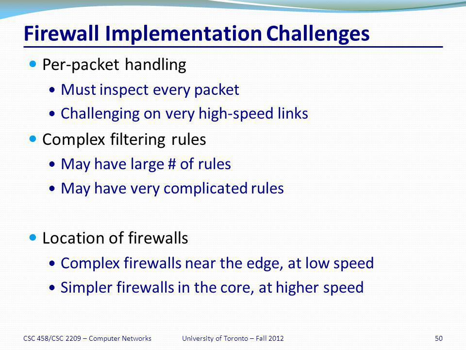 Firewall Implementation Challenges