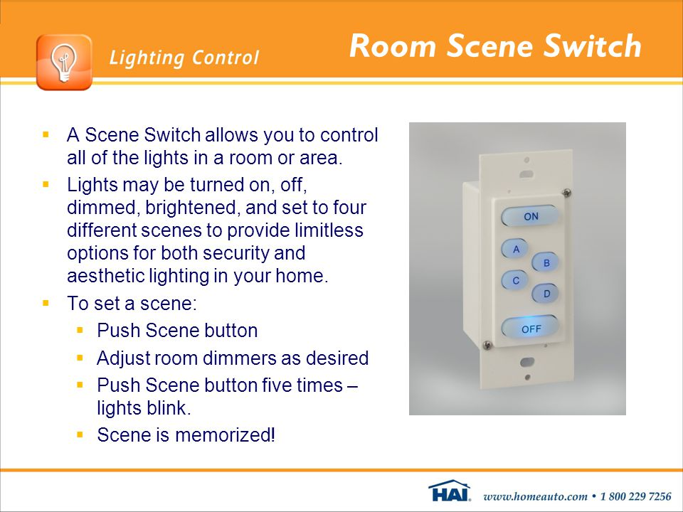 Room Scene Switch A Scene Switch allows you to control all of the lights in a room or area.