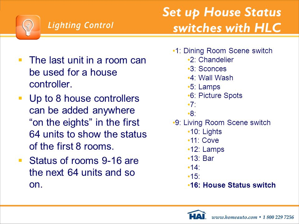 Set up House Status switches with HLC