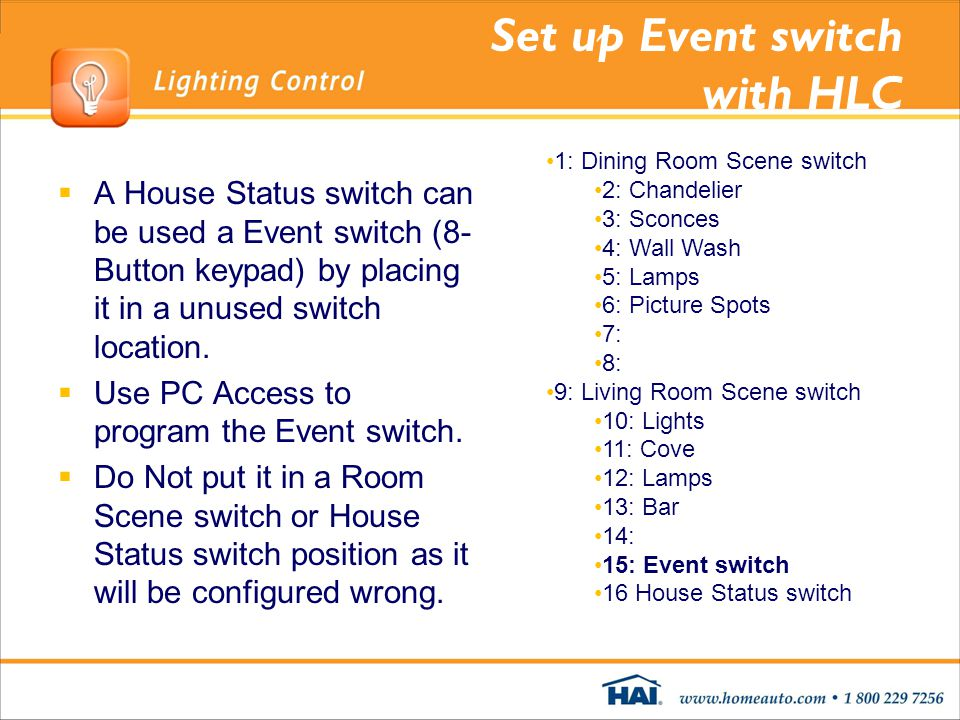 Set up Event switch with HLC