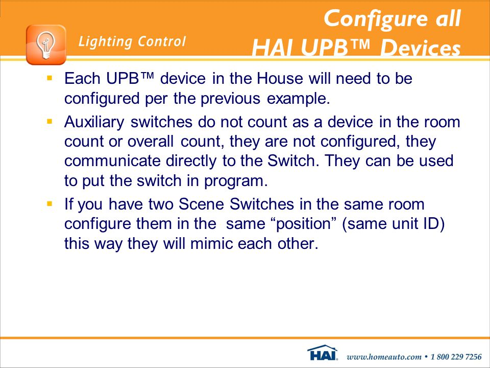 Configure all HAI UPB™ Devices