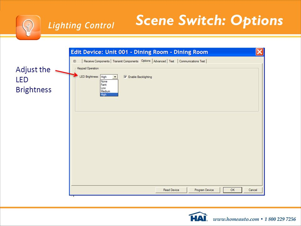 Scene Switch: Options Adjust the LED Brightness