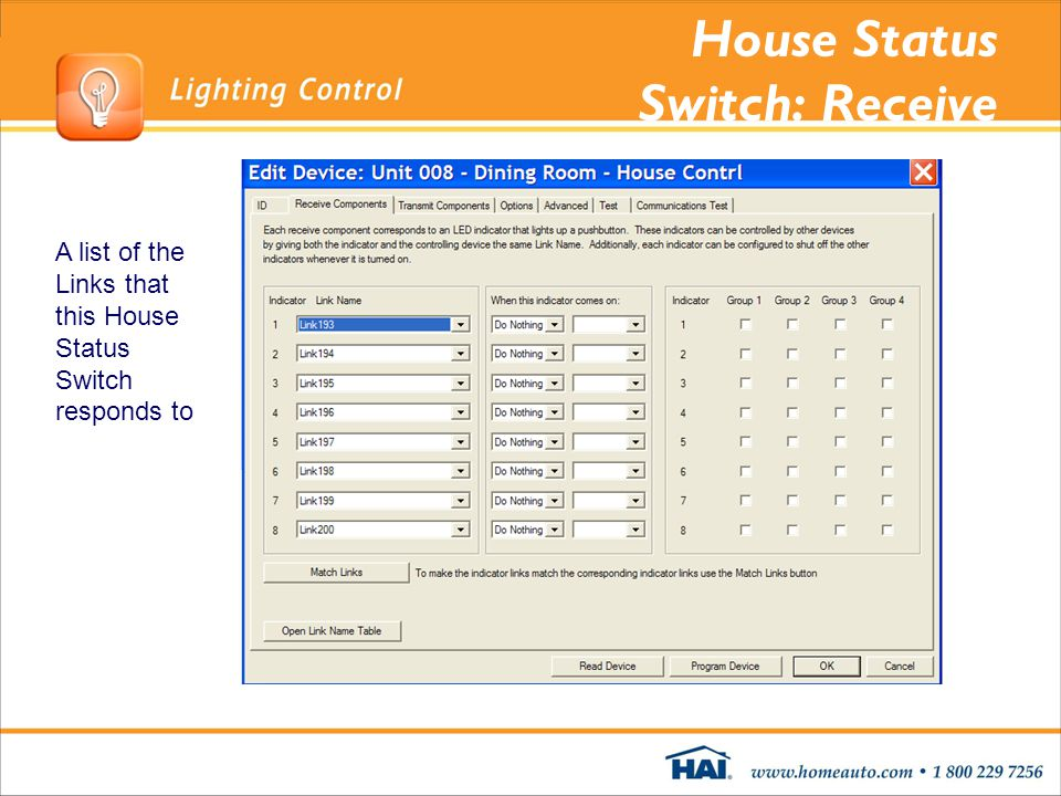 House Status Switch: Receive