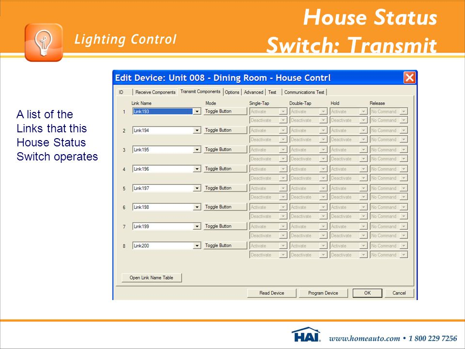 House Status Switch: Transmit