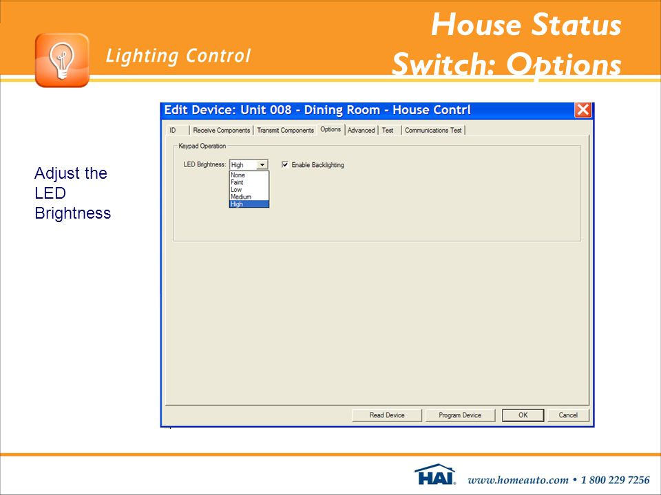House Status Switch: Options