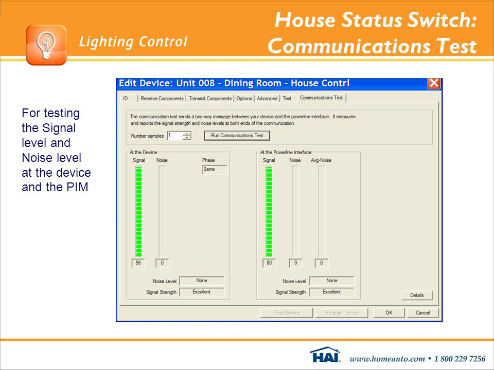 House Status Switch: Communications Test