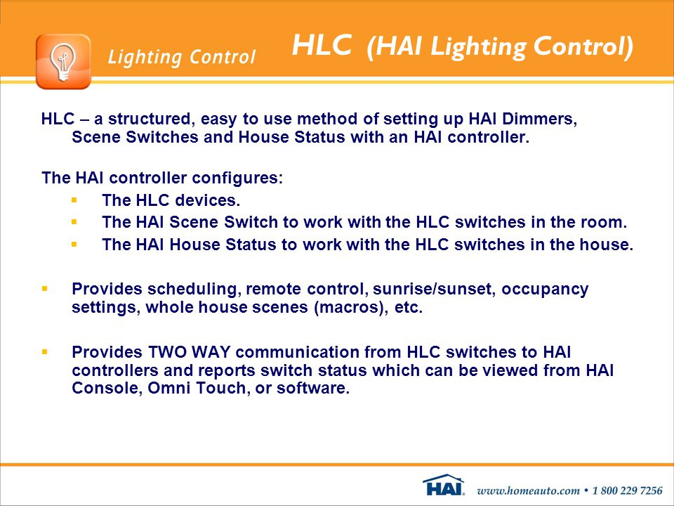 HLC (HAI Lighting Control)