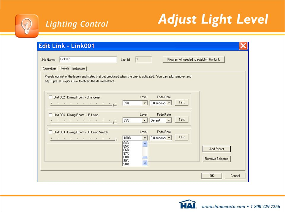 Adjust Light Level