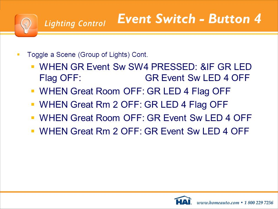 Event Switch - Button 4 Toggle a Scene (Group of Lights) Cont.
