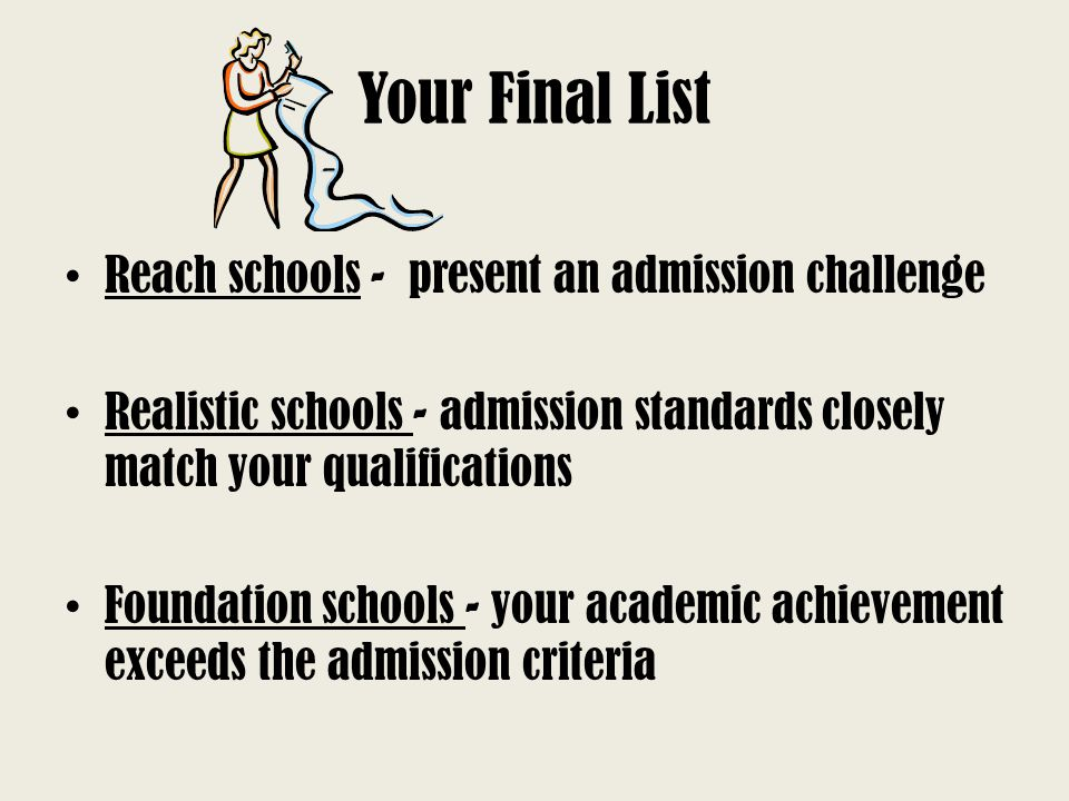 Your Final List Reach schools - present an admission challenge