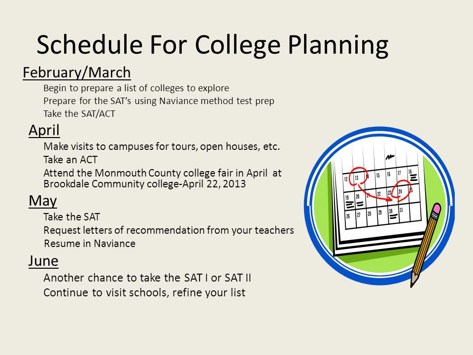 Schedule For College Planning