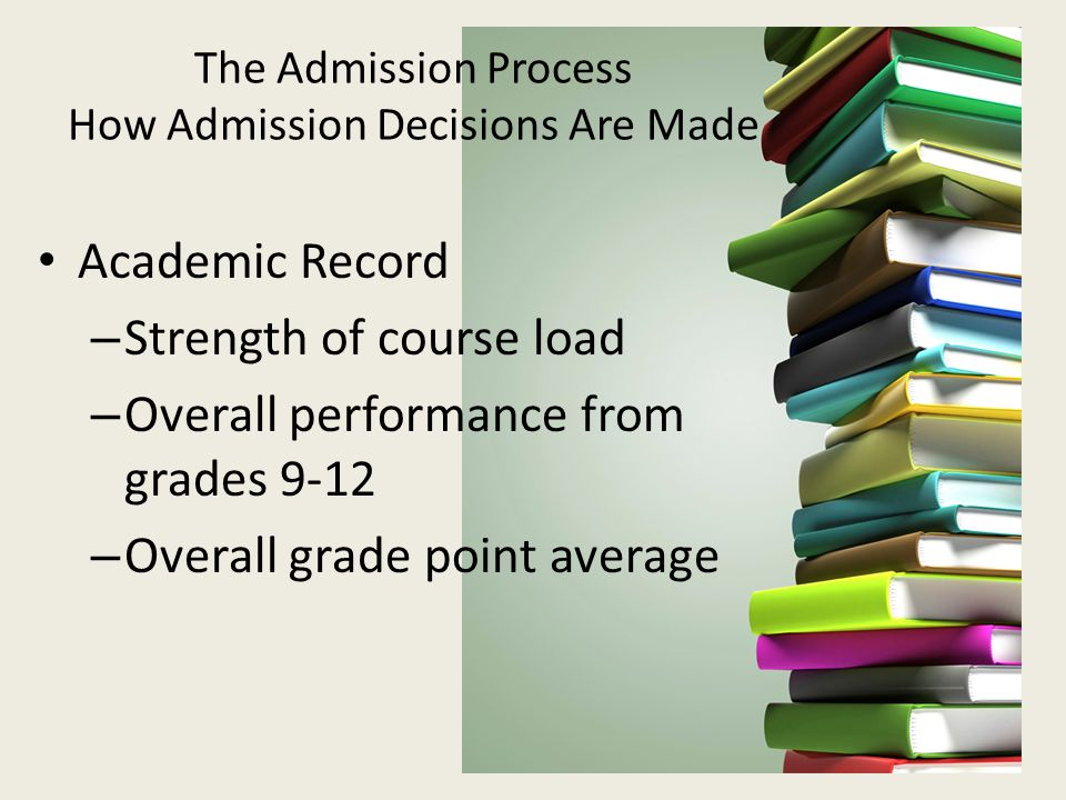 The Admission Process How Admission Decisions Are Made