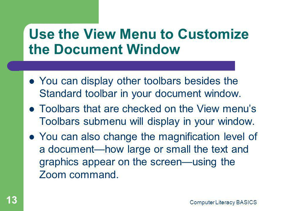 Use the View Menu to Customize the Document Window