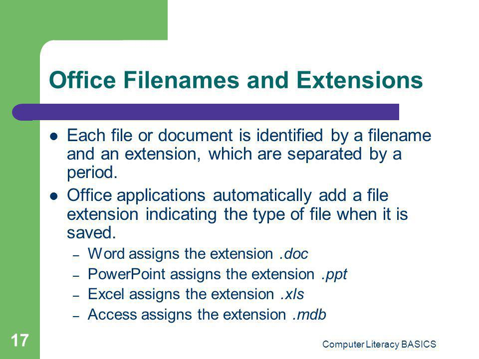 Office Filenames and Extensions