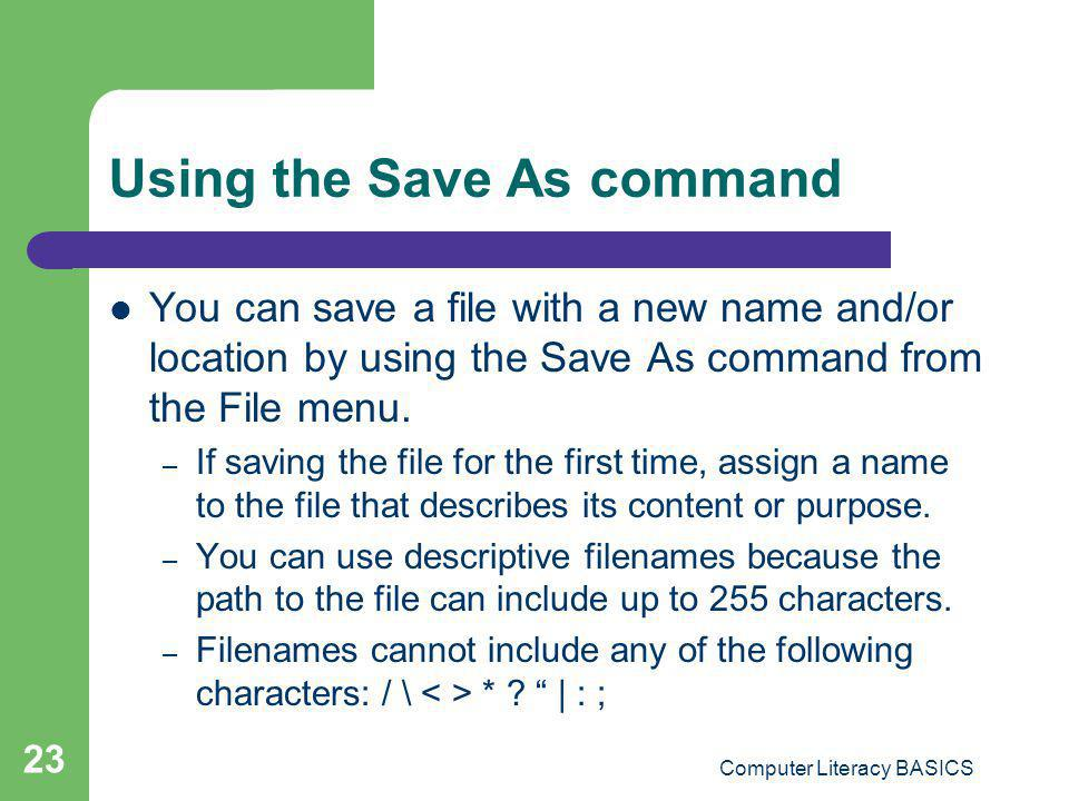 Using the Save As command