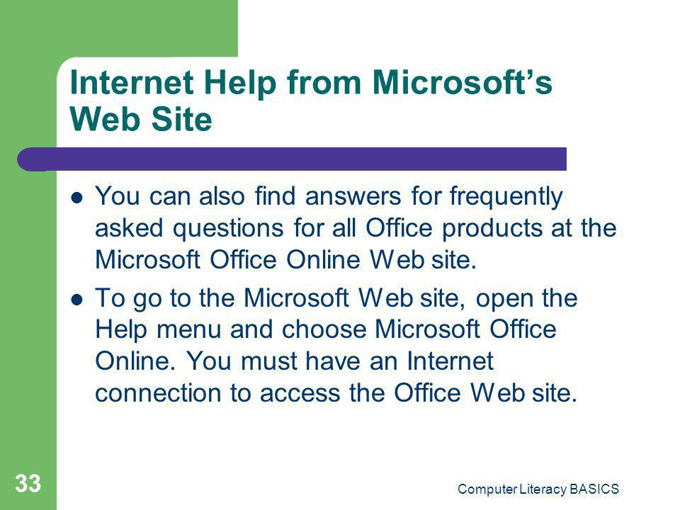Internet Help from Microsoft's Web Site