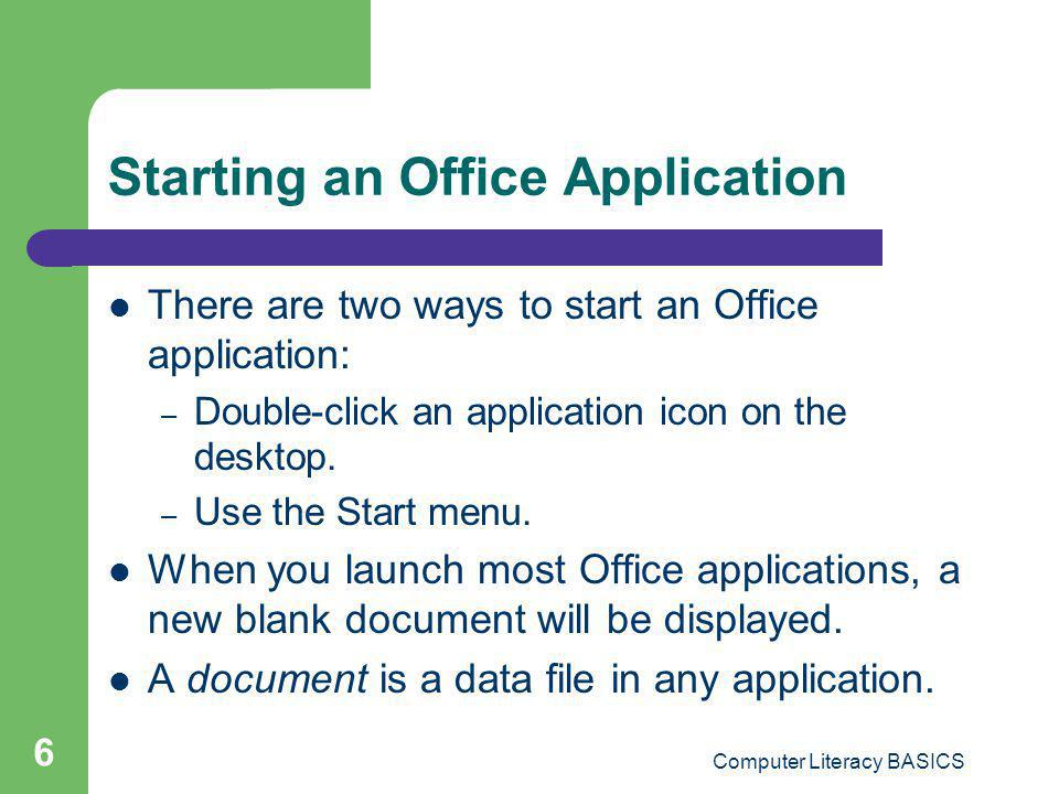 Starting an Office Application