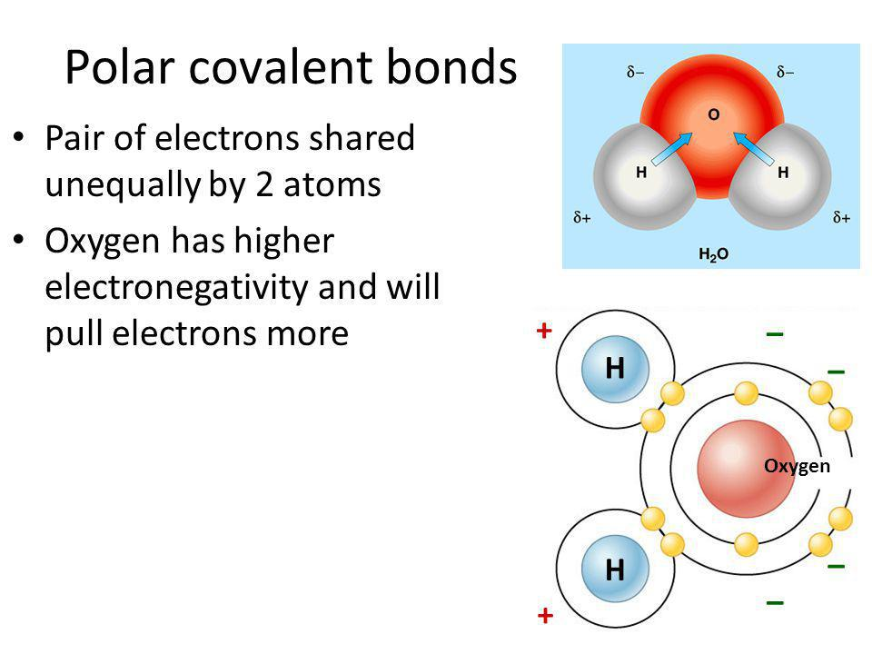Polar covalent bonds Pair of electrons shared unequally by 2 atoms