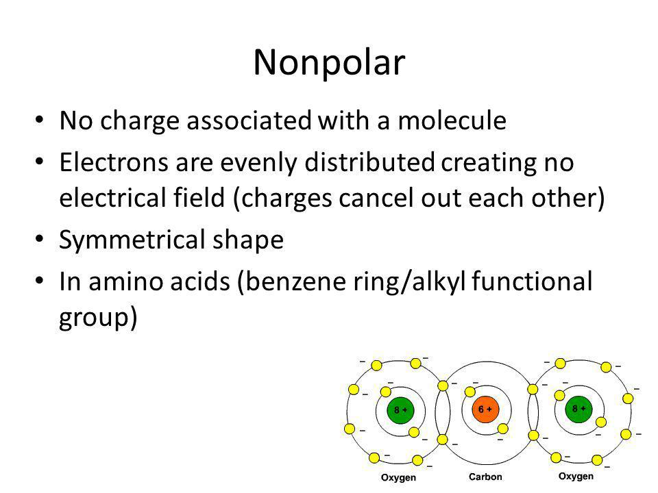 Nonpolar No charge associated with a molecule
