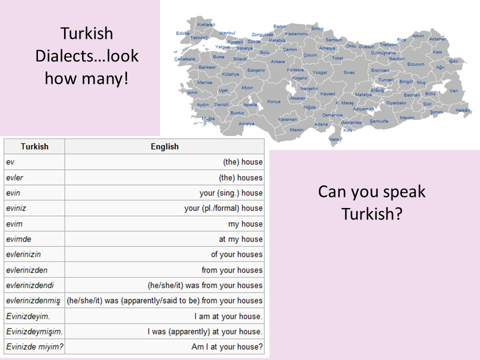 Turkish Dialects…look how many!
