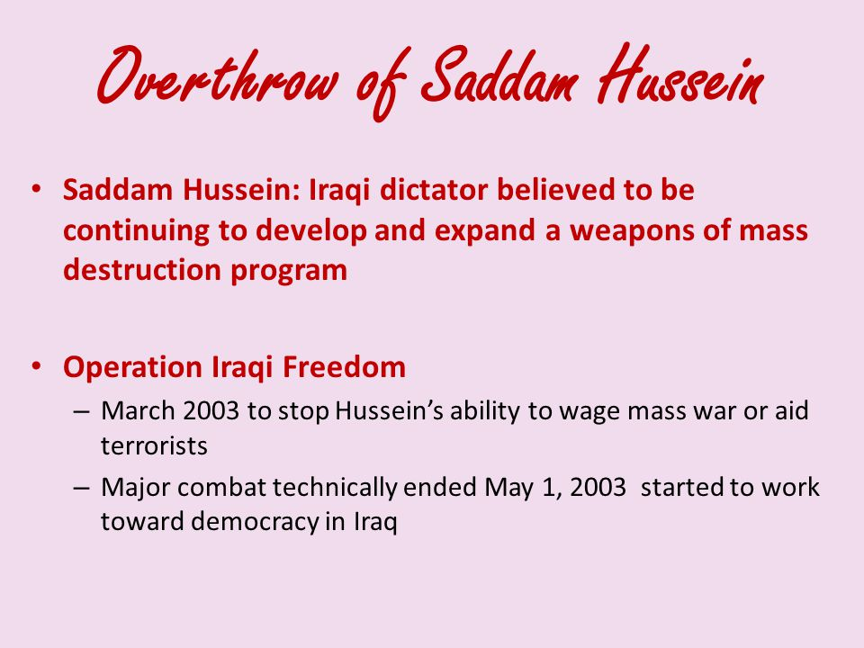Overthrow of Saddam Hussein