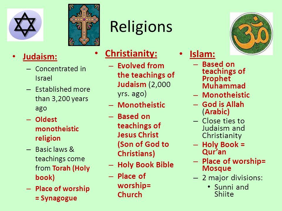 Religions Christianity: Islam: Judaism: