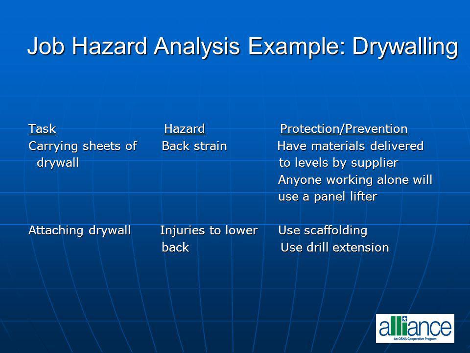 Job Hazard Analysis Example: Drywalling