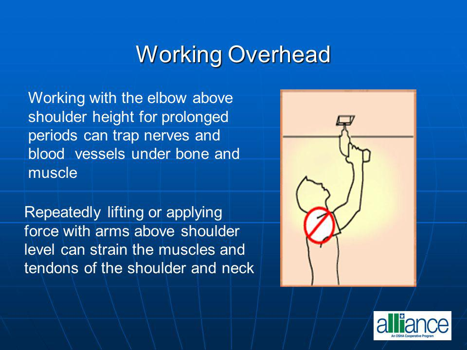 Working Overhead Working with the elbow above
