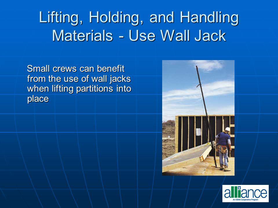 Lifting, Holding, and Handling Materials - Use Wall Jack