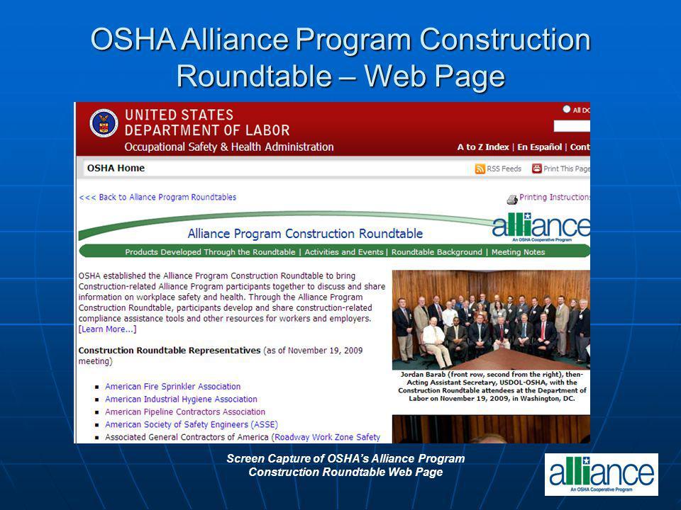 OSHA Alliance Program Construction Roundtable – Web Page