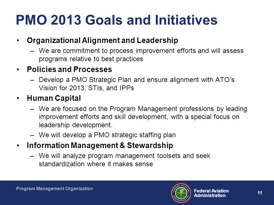 PMO 2013 Goals and Initiatives