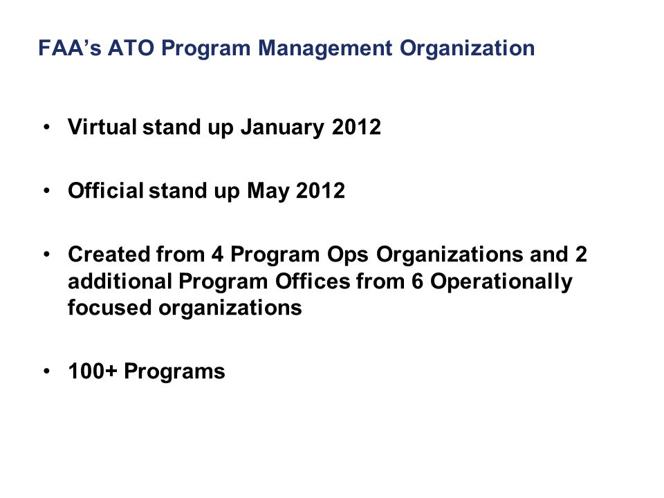FAA's ATO Program Management Organization