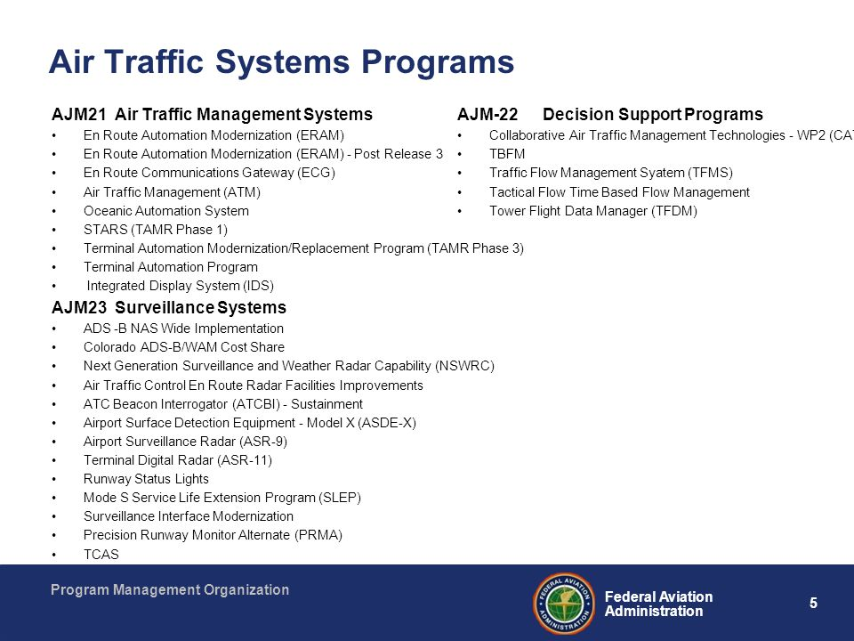Air Traffic Systems Programs