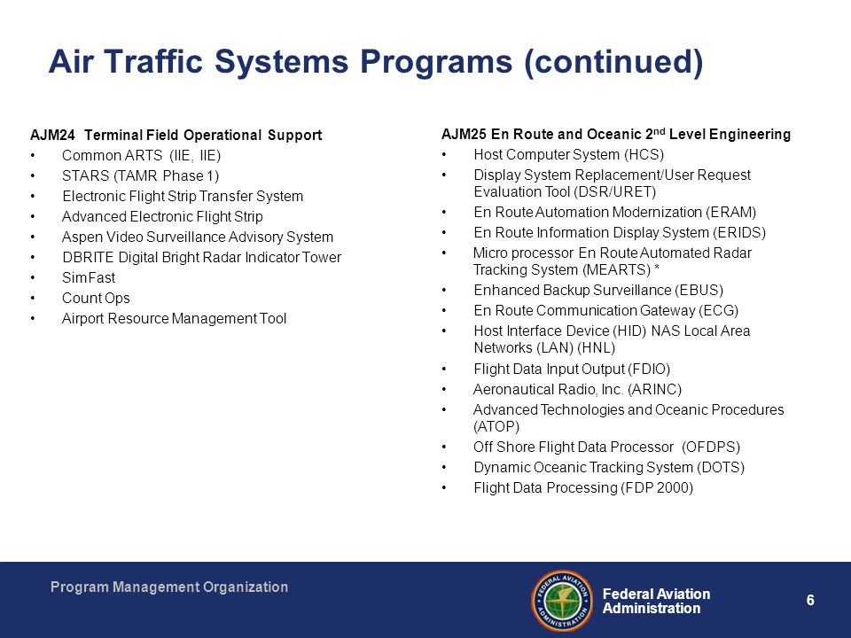 Air Traffic Systems Programs (continued)