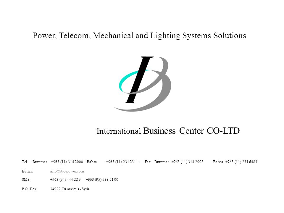 Power, Telecom, Mechanical and Lighting Systems Solutions