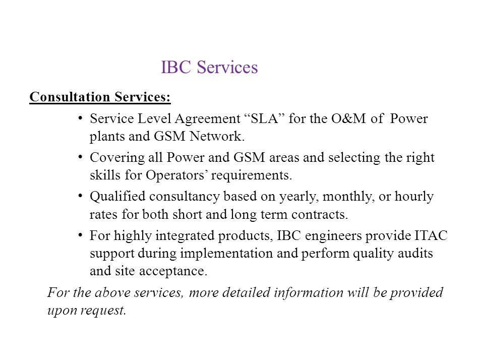 IBC Services Consultation Services: