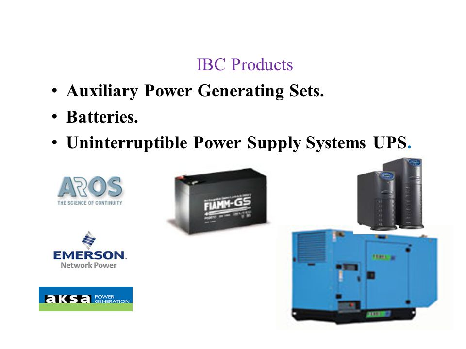 Auxiliary Power Generating Sets. Batteries.
