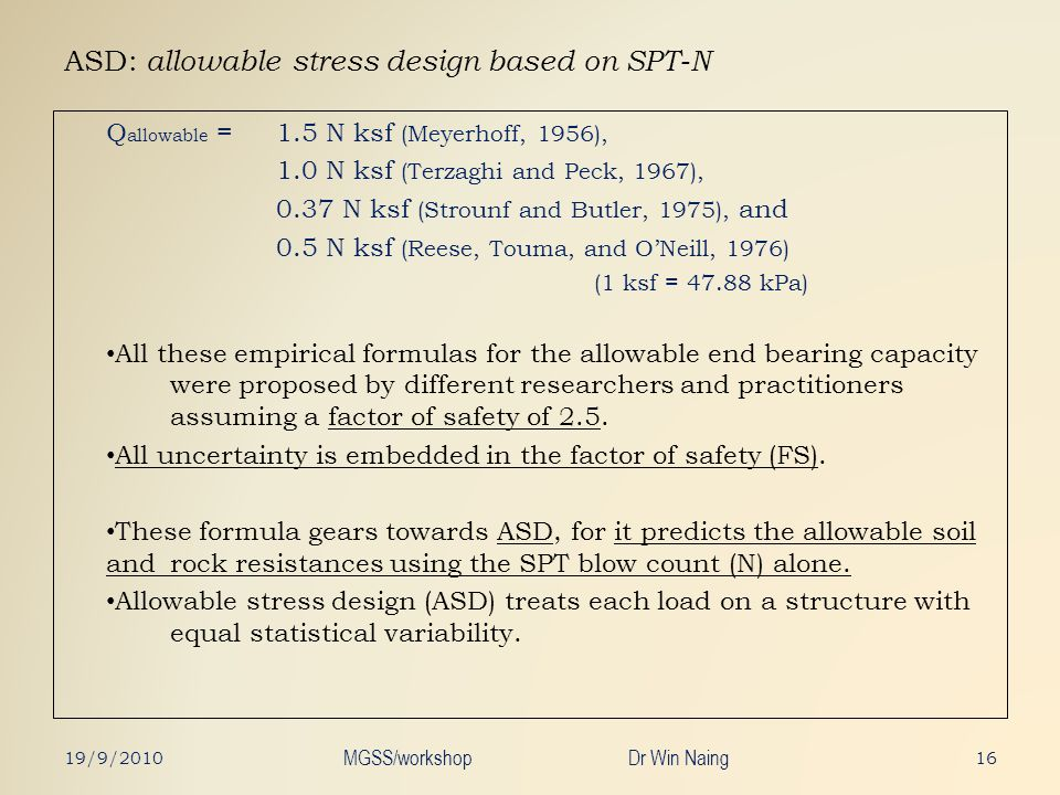 ASD: allowable stress design based on SPT-N