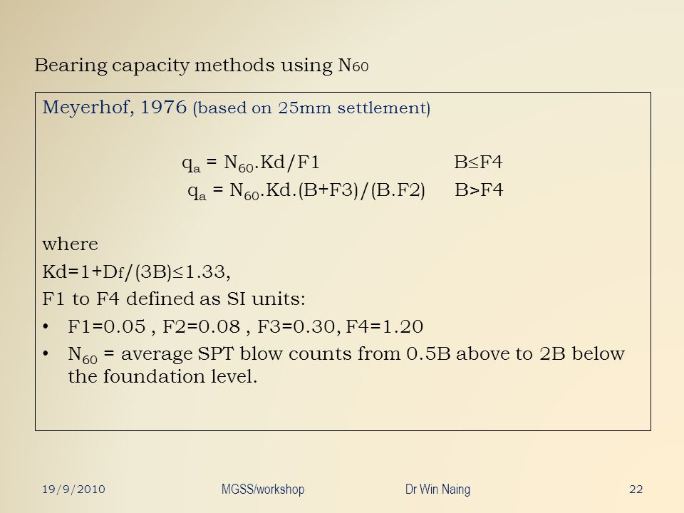 Bearing capacity methods using N60