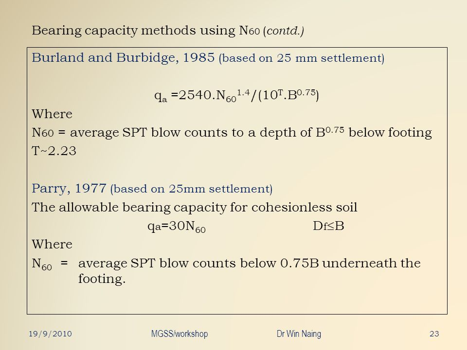 Bearing capacity methods using N60 (contd.)