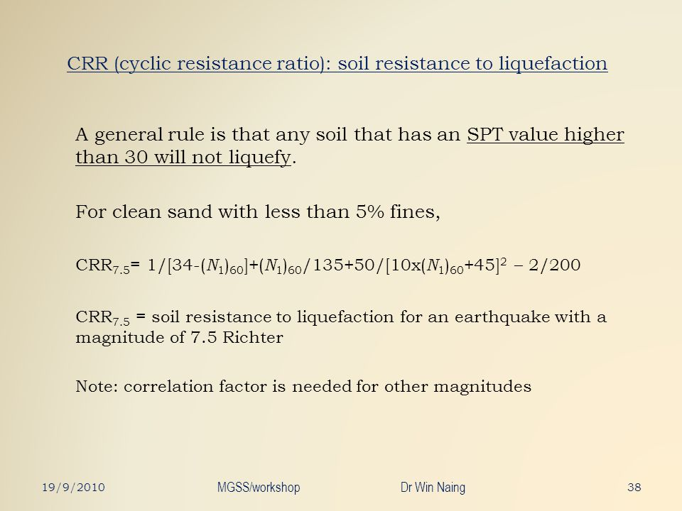 CRR (cyclic resistance ratio): soil resistance to liquefaction