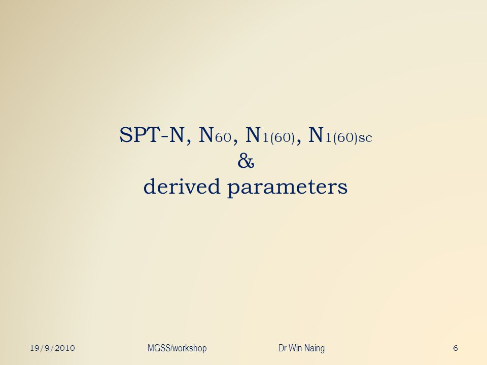 SPT-N, N60, N1(60), N1(60)sc & derived parameters